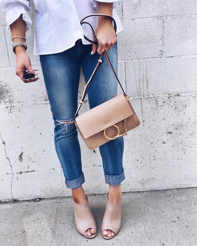chloe bag, mules, denim