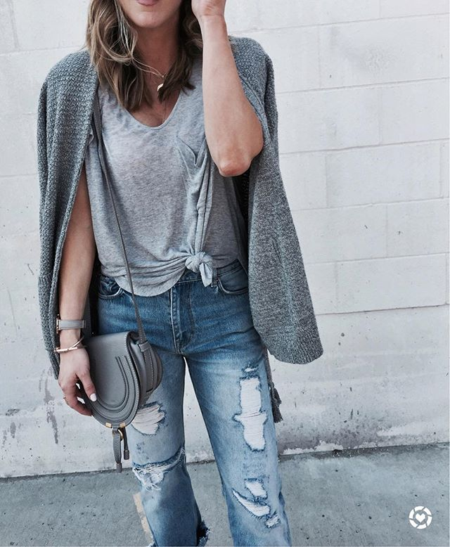 chloe handbag, denim, grey tie top