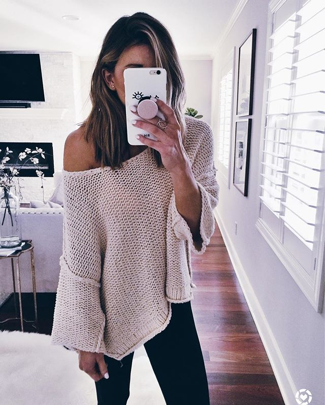 free people, off the shoulder sweater, leggings, kate spade