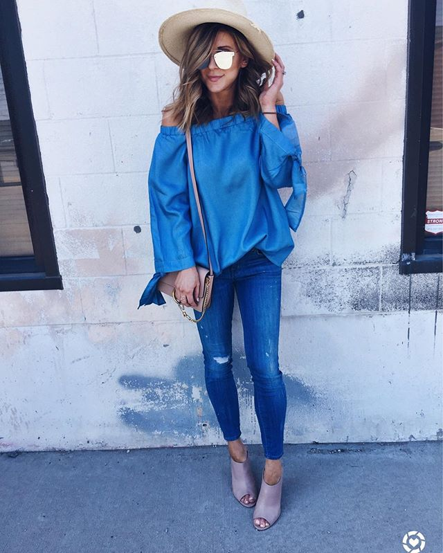 off the shoulder blouse, denim, crossbody bag, sunglasses