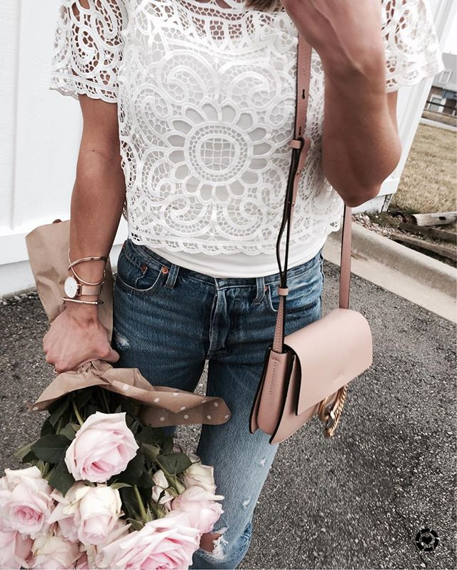 lace top, levi denim, chloe handbag