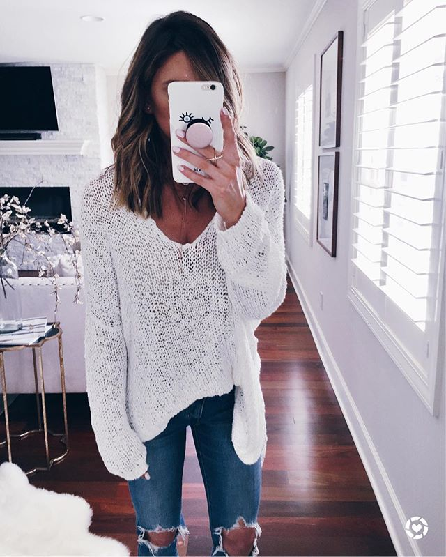 free people, sweater, denim, high waisted jeans