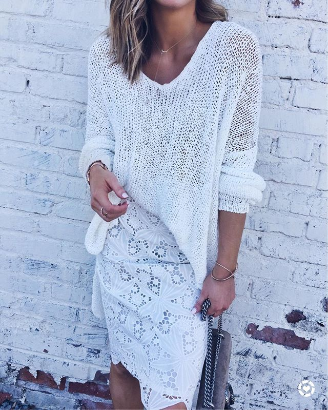 free people pullover, lace dress, handbag