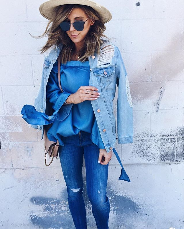 jean jacket, denim, off the shoulder top, mirrored sunglasses, hat
