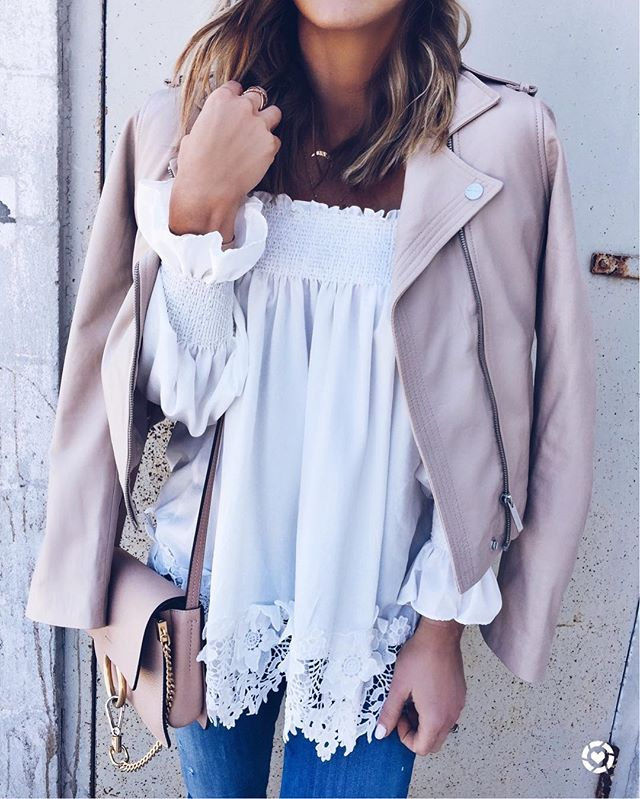 crochet top, off the shoulder top, chloe handbag, leather jacket, blush