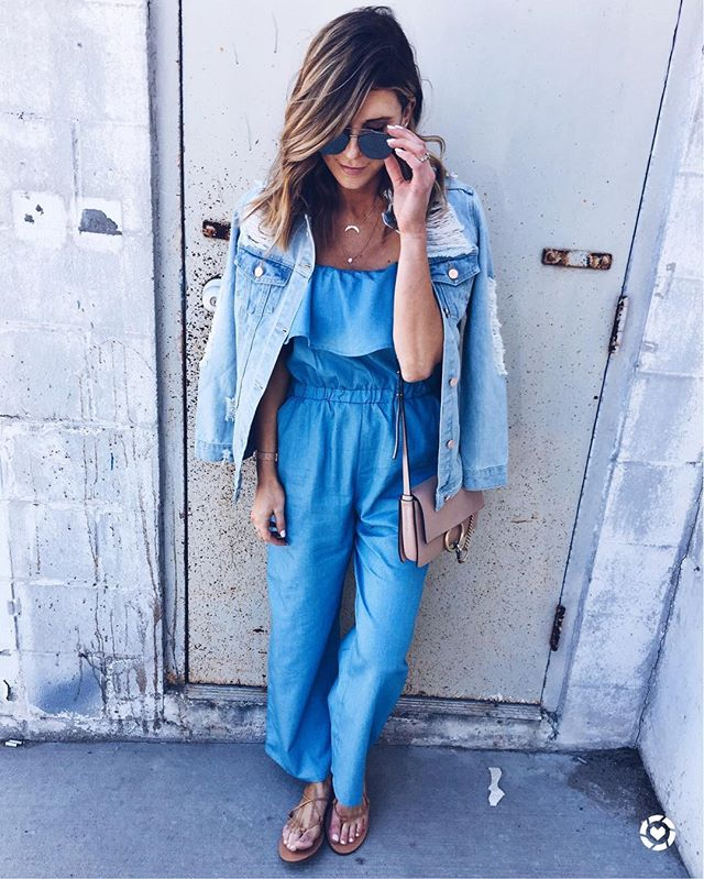 chambray, romper, denim jacket, mirrored sunglasses, chloe crossbody bag