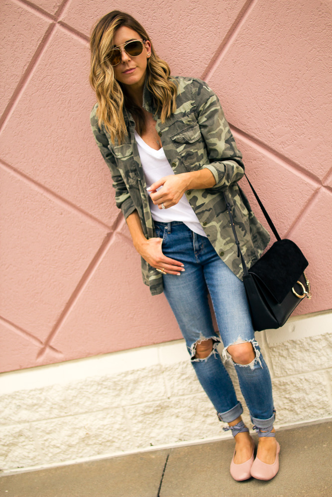 camo, jacket, distressed denim, chloe bag