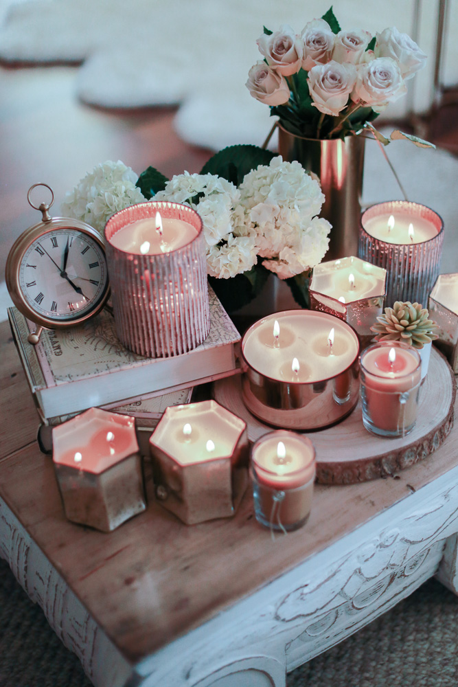 Votivo, Candle, home decor, flowers