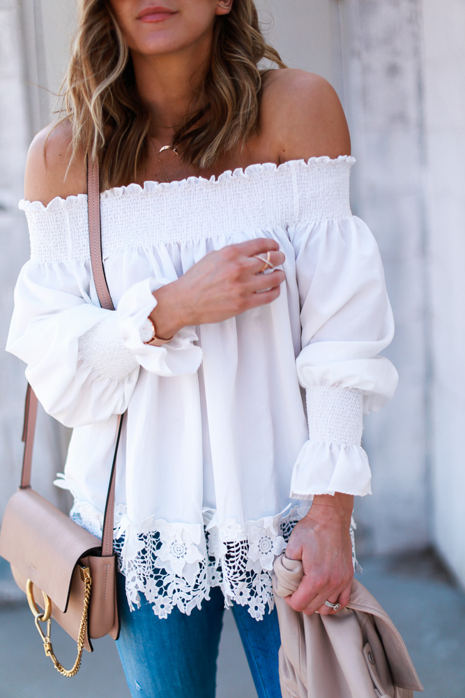 spring, crochet top, off the shoulder, denim, crossbody bag