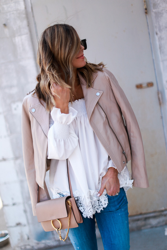 blush, spring, jacket, crochet top, off the shoulder, denim, crossbody bag