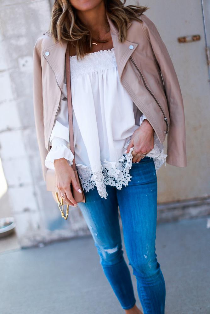 blush, spring, jacket, crochet top, off the shoulder, denim, crossbody bag