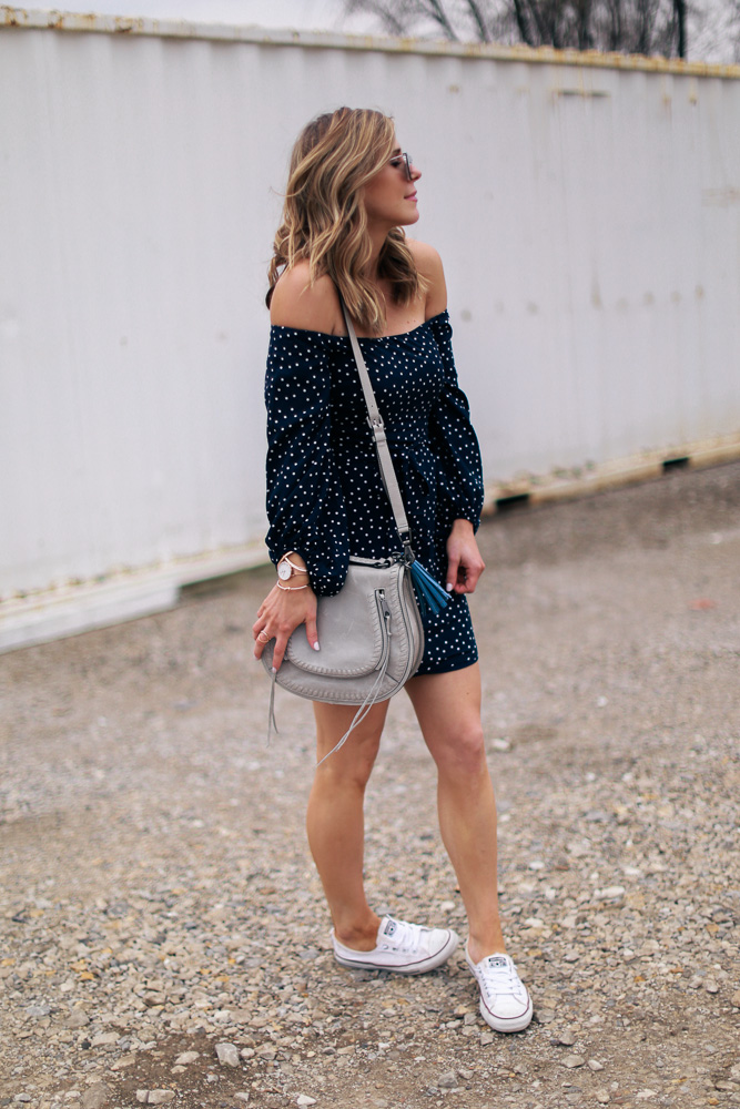 off the shoulder, dress, converse