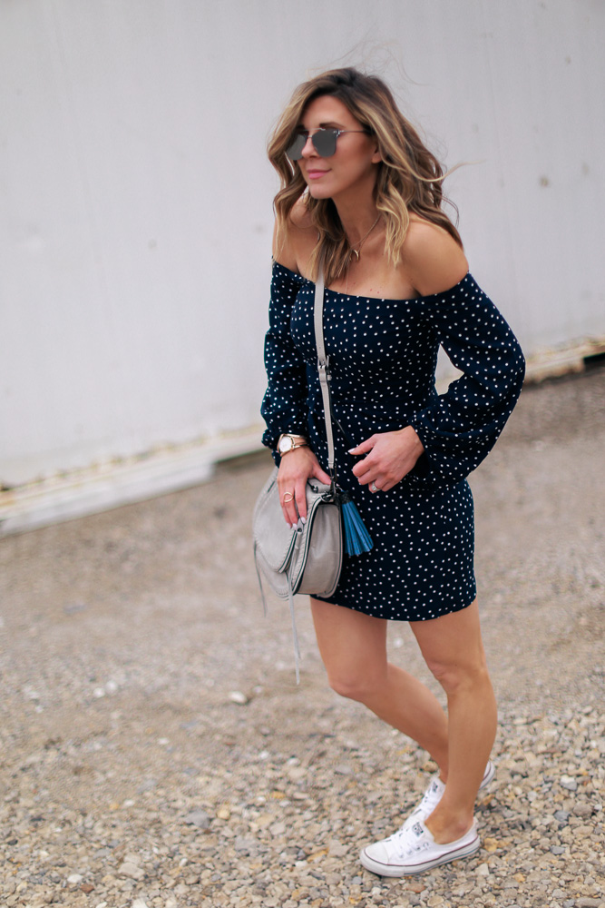 off the shoulder, polka dot dress, wavy hair, ombre hair