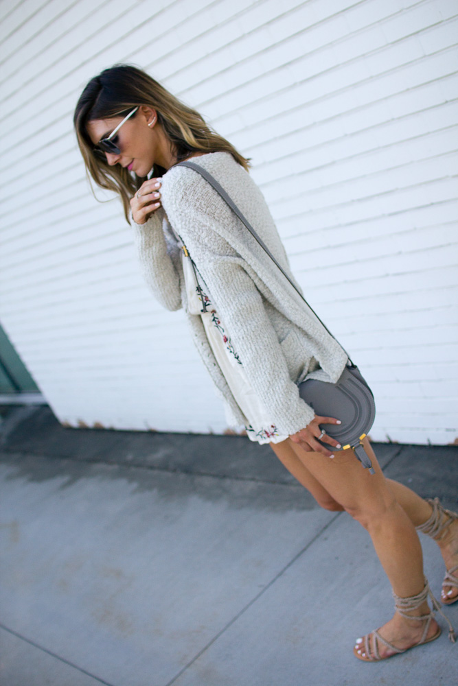 oversized cardigan, sunglasses, chloe bag