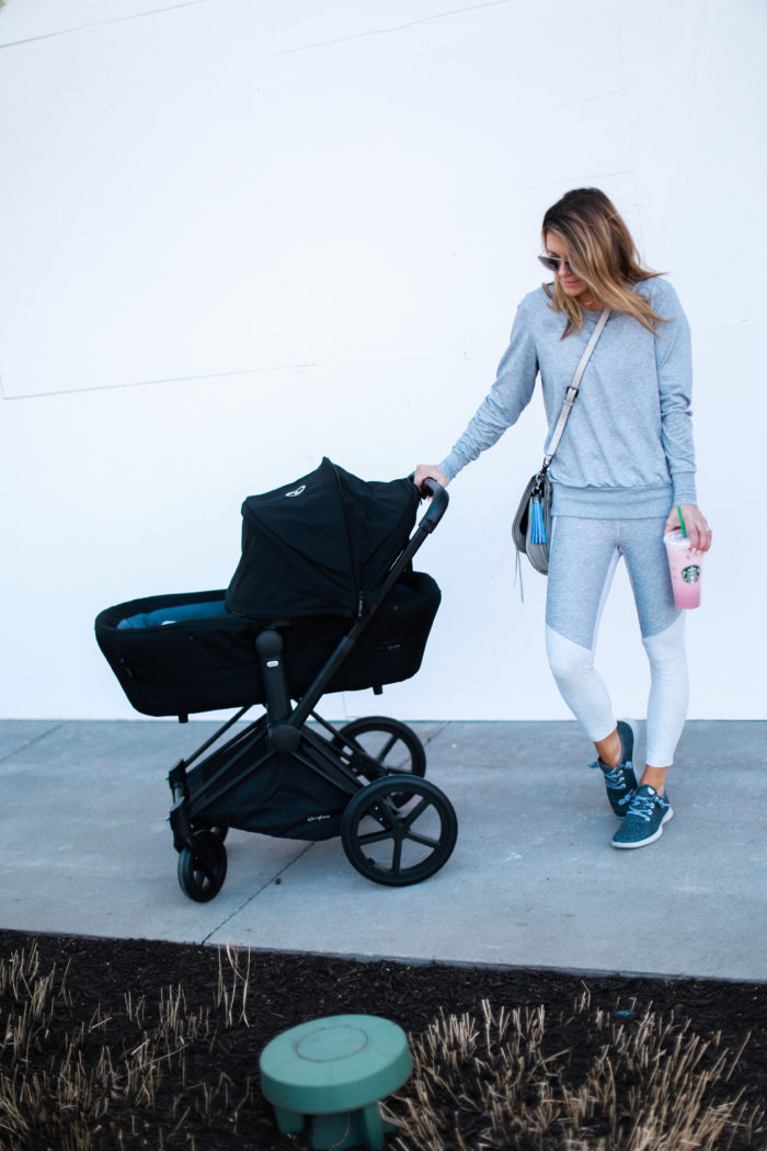 sneakers, grey, leggings, stroller, all birds, tassel, athleisure, crossbody bag