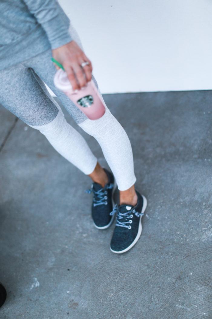 sneakers, grey, starbucks, all birds, tassel