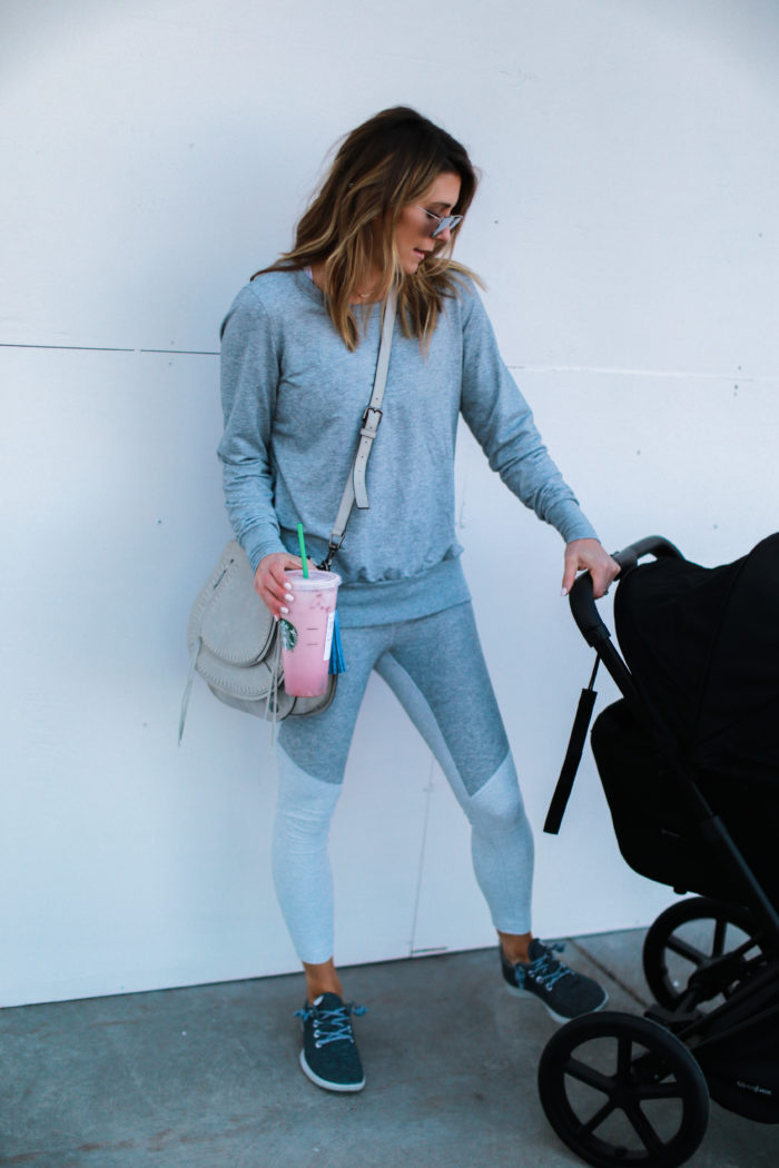 sneakers, grey, starbucks, all birds, athleisure, crossbody, mom, fitness