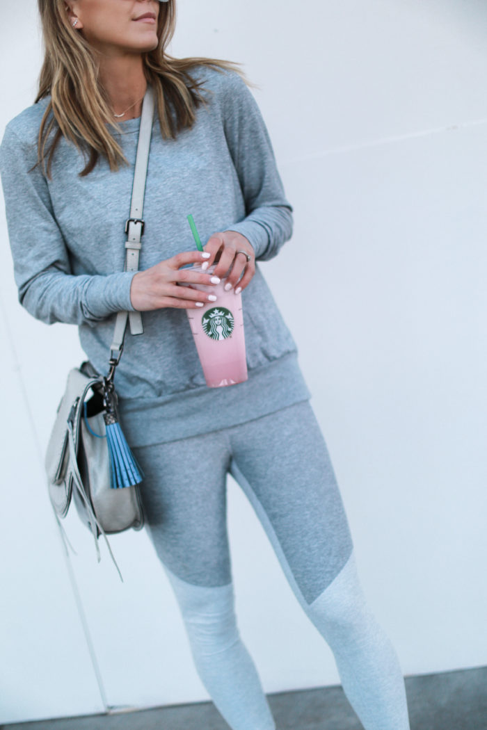 sneakers, grey, leggings, starbucks, all birds, tassel, athleisure, crossbody
