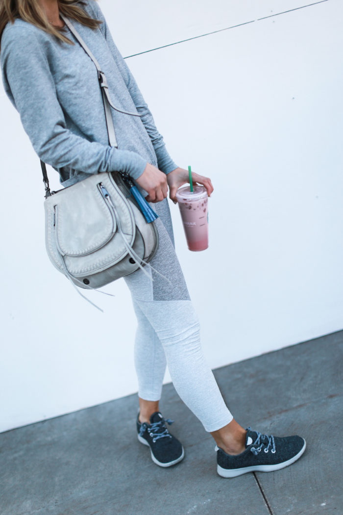 sneakers, grey, starbucks, all birds, crossbody bag