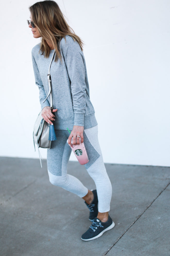 sneakers, grey, starbucks, all birds, tassel, athleisure, crossbody