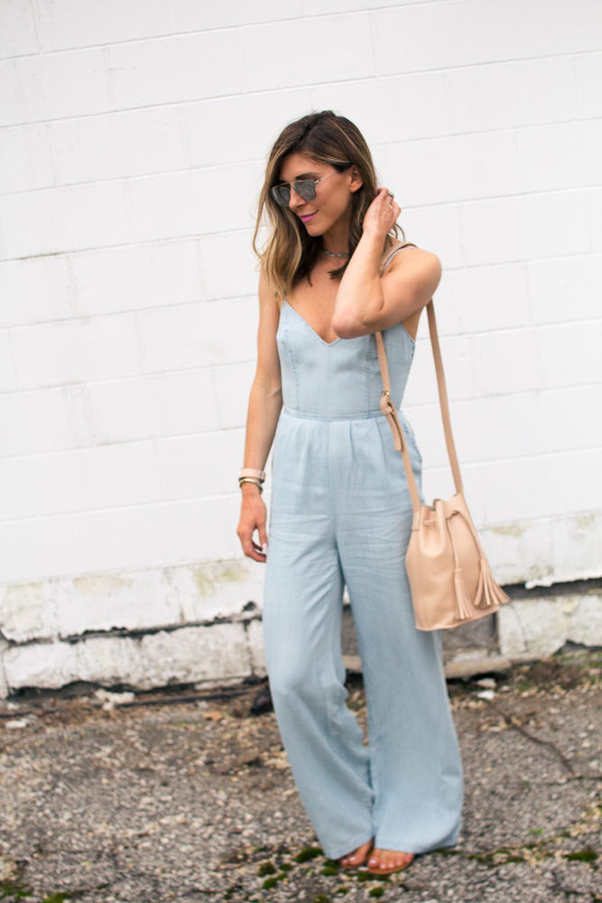 jumpsuit, chambray, bucket bag