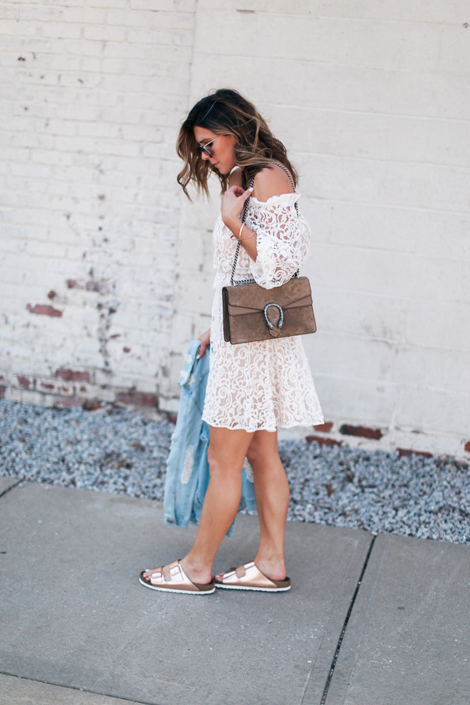 lace, white dress, lace dress, mirrored sunglasses, off the shoulder, leather watch, birkenstocks, denim jacket