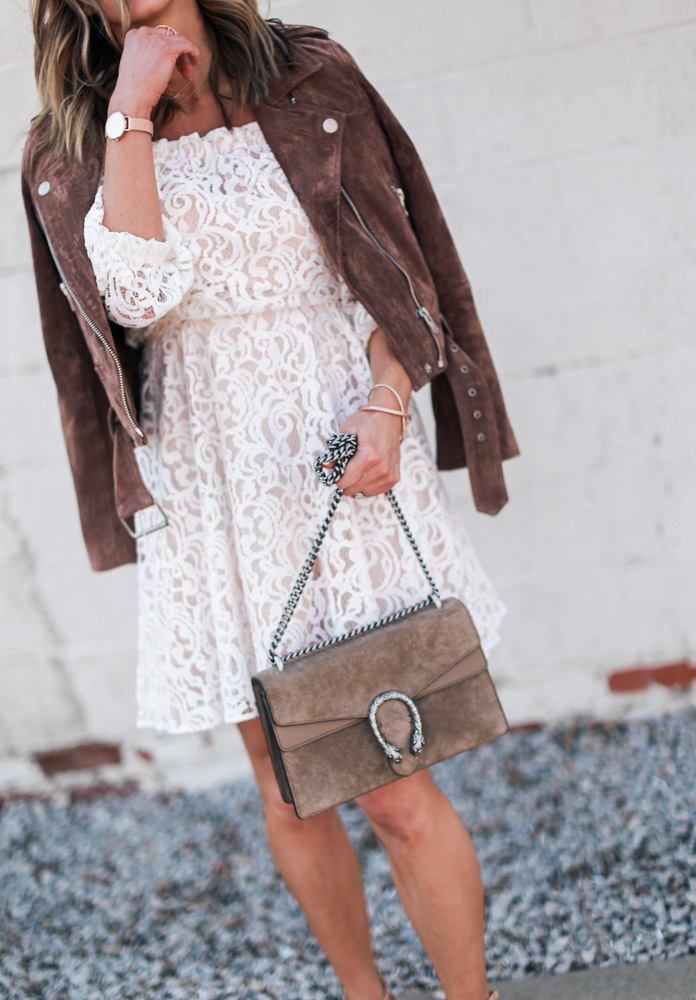 lace, white dress, lace dress, mirrored sunglasses, off the shoulder, suede jacket, leather watch