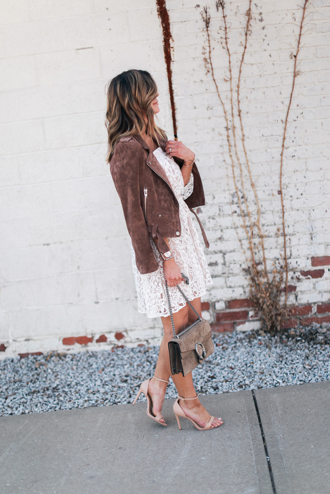 lace, white dress, lace dress, mirrored sunglasses, off the shoulder, leather watch, steve madden shoes, suede jacket