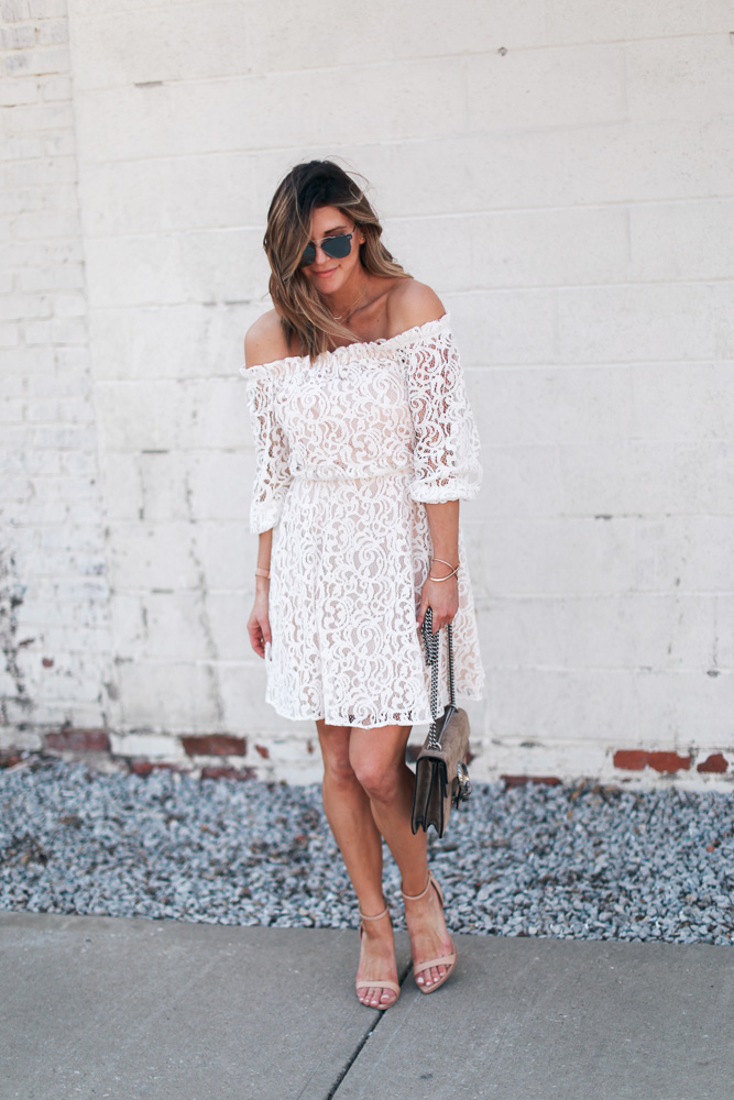 lace, white dress, lace dress, mirrored sunglasses, off the shoulder