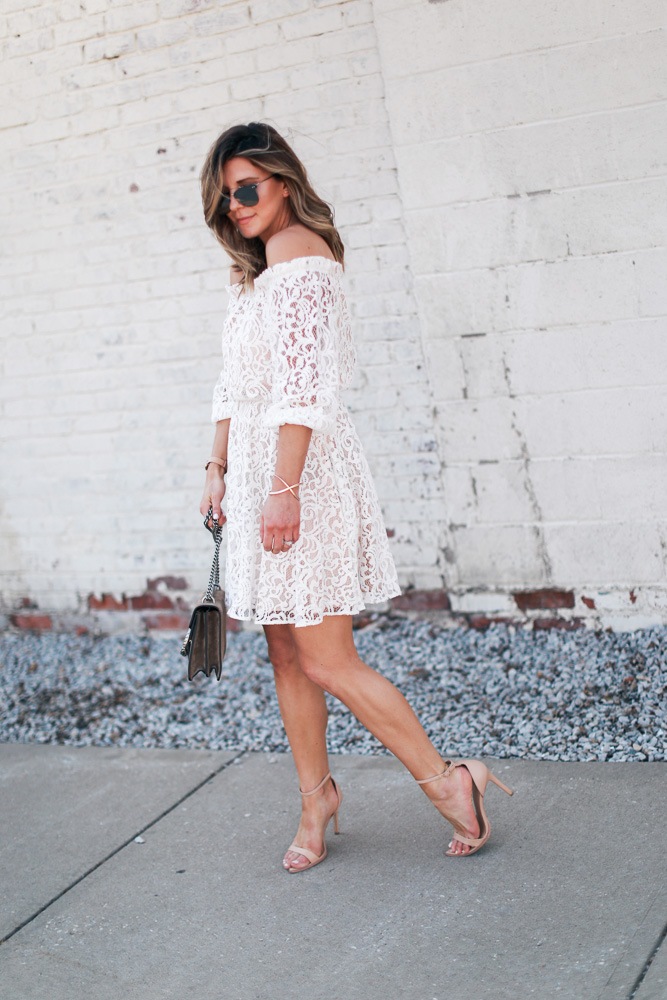 lace, white dress, lace dress, mirrored sunglasses, off the shoulder, steve madden shoes