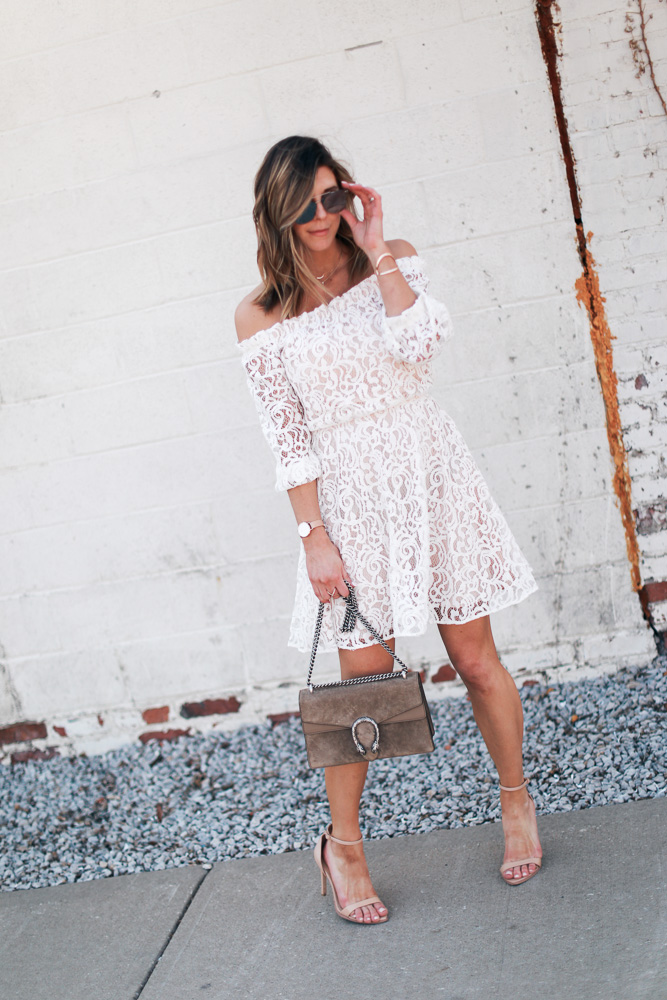 lace, white dress, lace dress, mirrored sunglasses, off the shoulder, leather watch, steve madden shoes