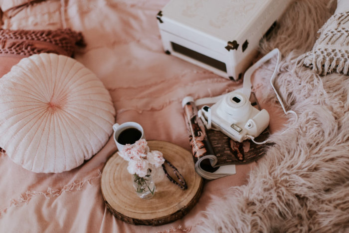 Fujifilm Instax camera, record player, Urban Outfitters bedding, fashion blogger, style blogger