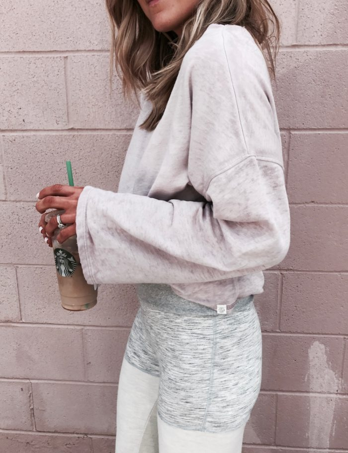slouchy pullover, free people leggings, starbucks, fashion blogger, style blogger, Kansas City blogger
