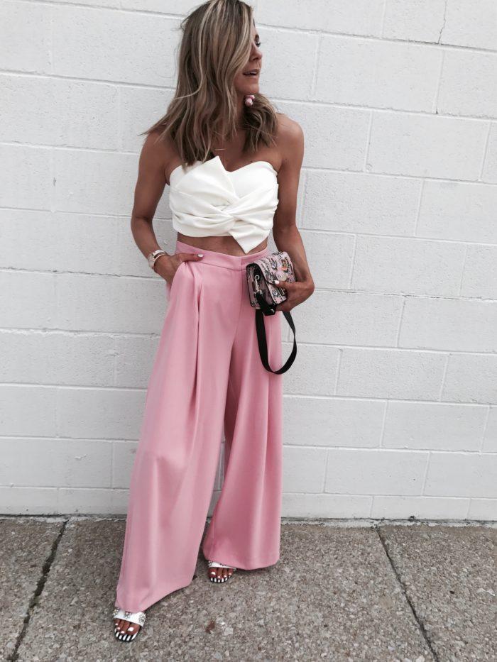 furla handbag, high waisted trousers, crop top, baublebar, style blogger, fashion blogger