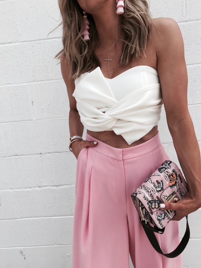 statement earrings, crop top, high waisted trousers, baublebar, furla handbag, fashion blogger, style blogger