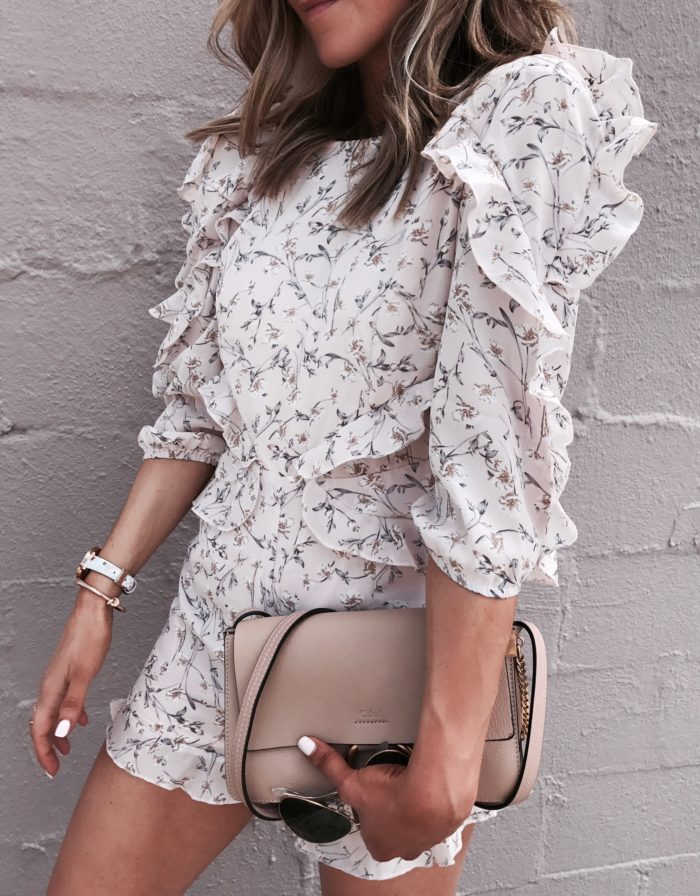 floral romper, chloe handbag, Ted Baker watch, Kate Spade bangle, style blogger, fashion blogger