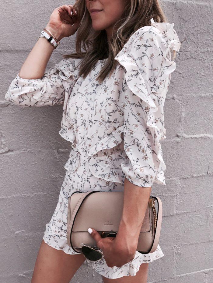 floral romper, chloe handbag, Ted Baker watch, Kate Spade bangle, style blogger, fashion blogger