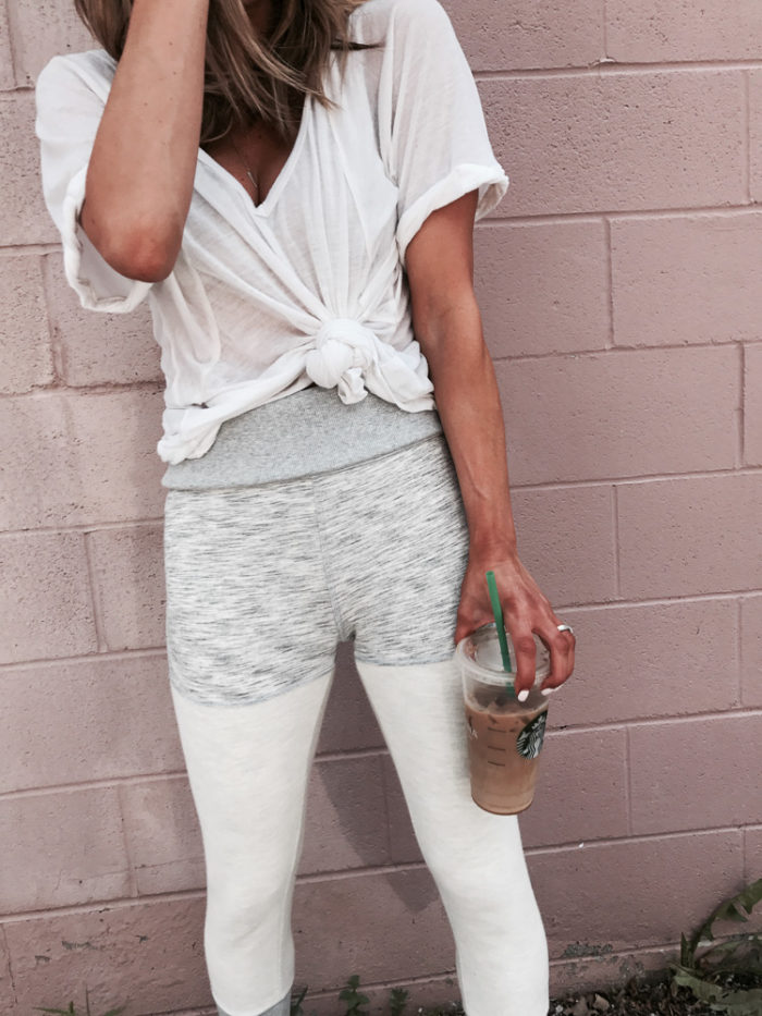 free people leggings, free people tee, white tee, starbucks, fashion blogger, style blogger, Kansas City blogger