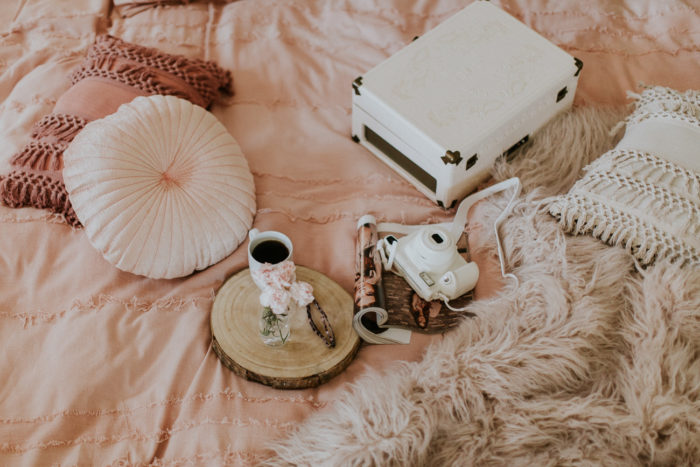 Fujifilm Instax camera, record player, Urban Outfitters bedding, fashion blogger, style blogger, Kansas City blogger