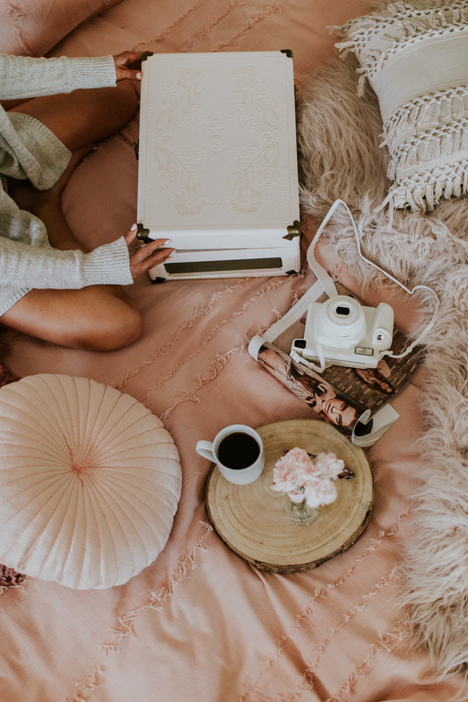 Fujifilm Instax camera, record player, Urban Outfitters bedding, fashion blogger, style blogger, Kansas City blogger