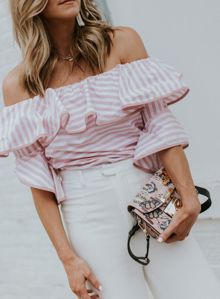 8da44c08316b5c Pink Stripe Off The Shoulder Top c o TTS  59    Wide Leg Pants TTS    Furla  Handbag    Lisi Lurch Earrings c o    Bow Shoes similar here