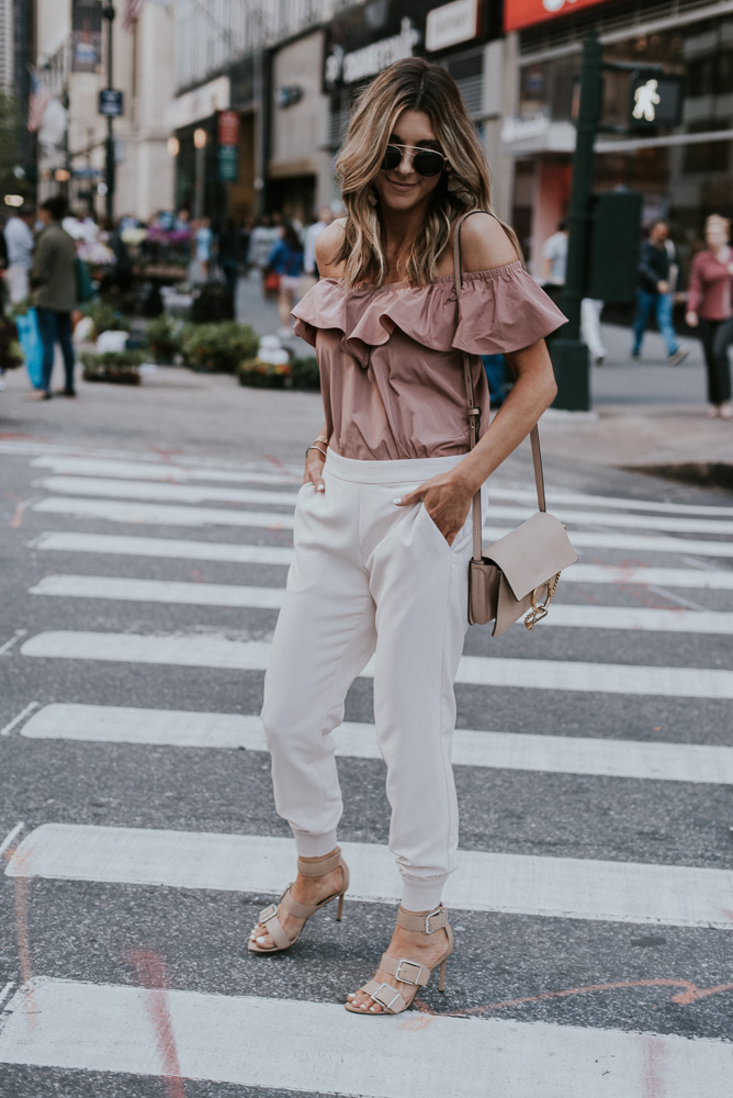NYFW: Blush Pink Dressy Joggers