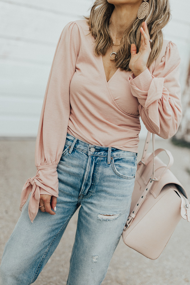 blush wrap top