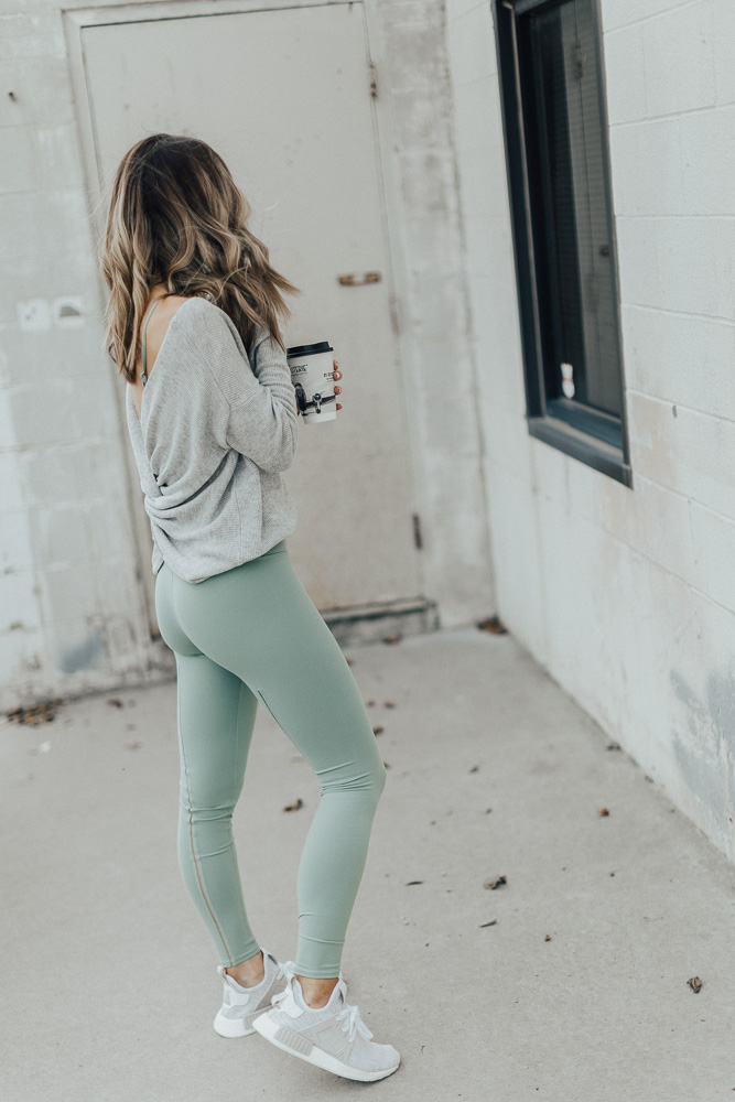 78ed4aef26 Alo Leggings (fit: TTS, wearing size small) // Alo Strappy Sports Bra (fit:  TTS, wearing size small)// Pullover Sweater (fit: TTS, wearing size US 6)//  ...