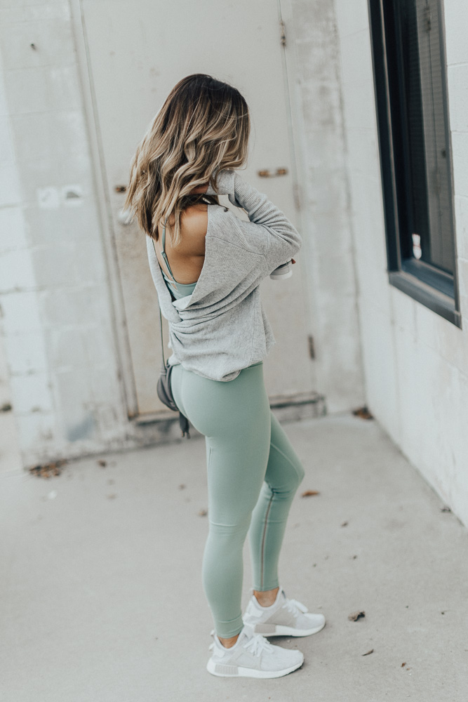 38298476b7 Alo Leggings // Alo Strappy Sports Bra // Pullover Sweater // Adidas Shoes  // RayBans