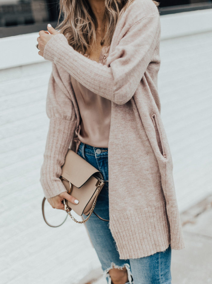 cozy cardigan distressed denim