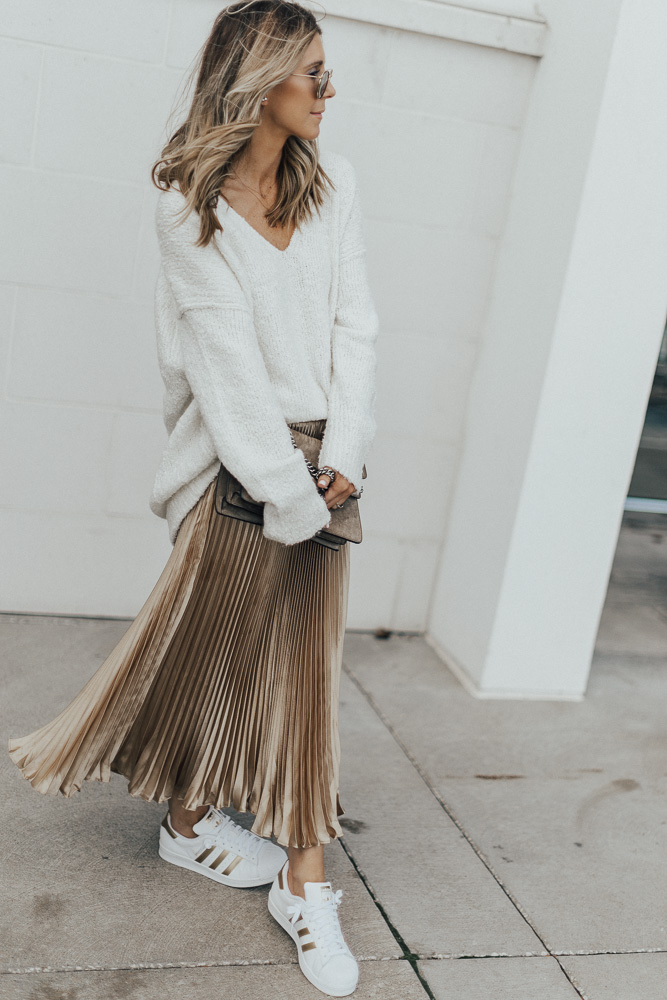 5ad1c6b29b Free People Cozy Sweater (found this in stock finally!, wearing size small)  // Metallic skirt similar here & here (under $35)// Adidas sneakers // Gucci  bag ...