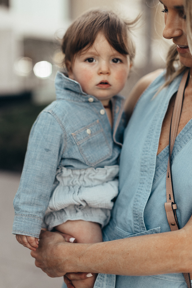 12 month baby schedule chambray outfit