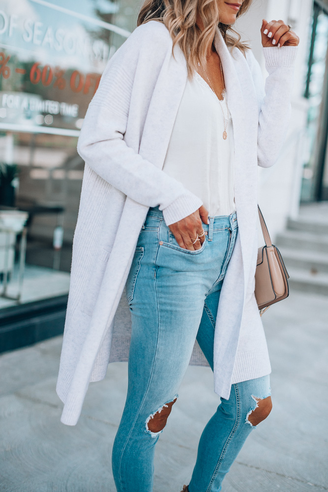 Nordstrom Anniversary Sale outfit ideas Vince cardigan