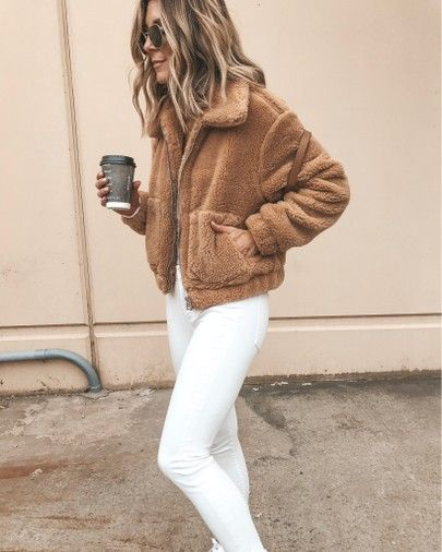 Cropped teddy jacket cozy fall outfit